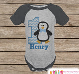 First Birthday Penguin Outfit - Boys 1st Birthday Onepiece or T-shirt - Winter Onederland Grey Raglan Shirt - Wonderland Birthday Raglan Tee - Get The Party Started