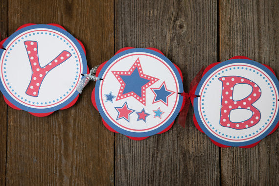Stars HAPPY BIRTHDAY Banner, 4th of July Birthday Decorations, Star Party, Star Banner, Star Party, Patriotic Birthday, Patriotic Banner - Get The Party Started