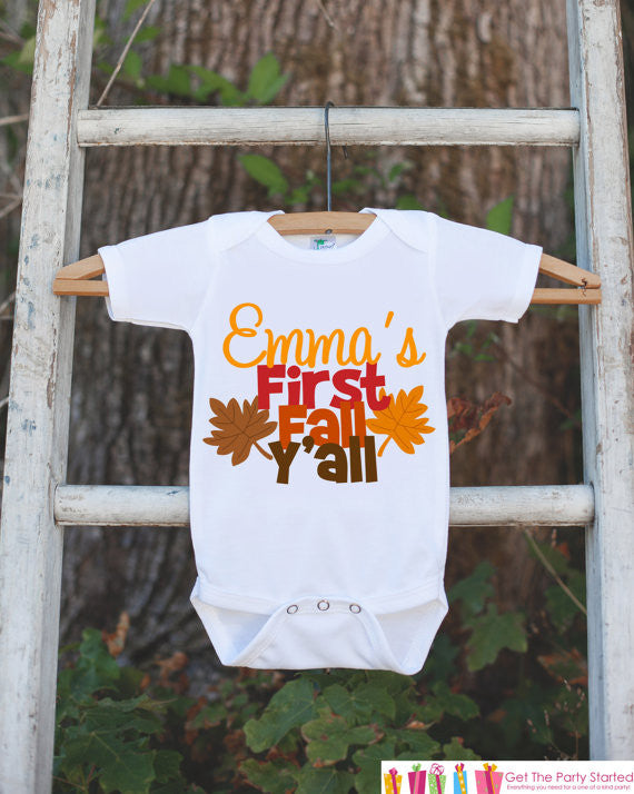 First Fall Y'all Onepiece - Baby's First Fall Outfit for Baby Boy or Baby Girl - Get The Party Started