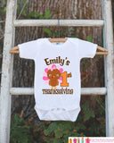 First Thanksgiving Onepiece - Baby's 1st Thanksgiving Outfit for Baby Girl with Turkey - Get The Party Started