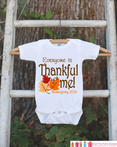 Everyone Is Thankful for Me Onepiece - Baby's First Thanksgiving Outfit for Baby Boy or Baby Girl with Fall Leaves - Get The Party Started