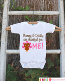 Mommy and Daddy are Thankful for Me Thanksgiving Onepiece - Baby's 1st Thanksgiving Outfit for Baby Girl with Pink Turkey - Get The Party Started