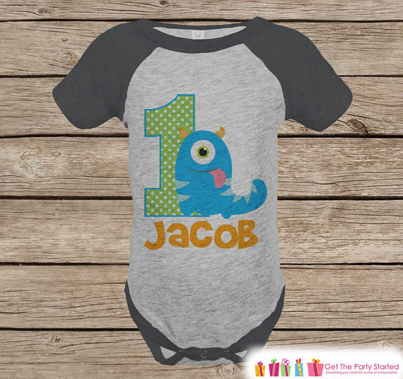 First Birthday Monster Outfit - Boys 1st Birthday Onepiece or T-shirt - Monster Grey Raglan Shirt - Boys 1st Birthday - Birthday Raglan Tee - Get The Party Started