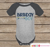 Boy Birthday Outfit - Birthday Boy Grey Raglan Shirt - Hipster Arrows Birthday Onepiece For Boy's Birthday Party - Boy's Birthday Raglan Tee - Get The Party Started
