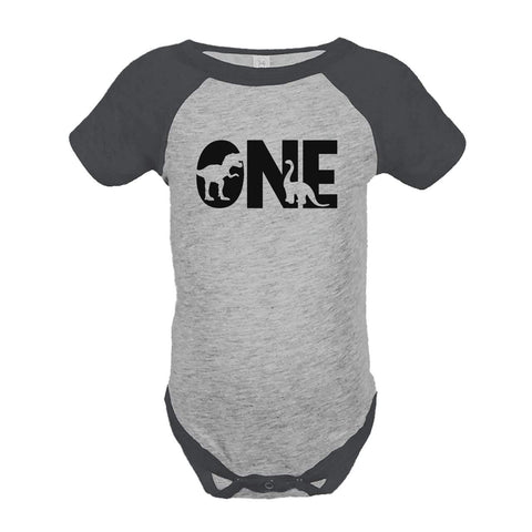 7 ate 9 Apparel Baby's Dinosaur One Birthday Grey Onepiece