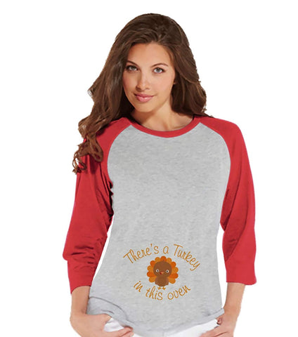 Custom Party Shop Womens Turkey in the Oven Thanksgiving Pregnancy Announcement Raglan Tee