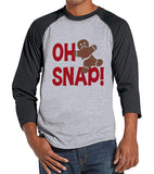 7 at 9 Apparel Men's Funny Gingerbread Man Christmas Raglan Tee