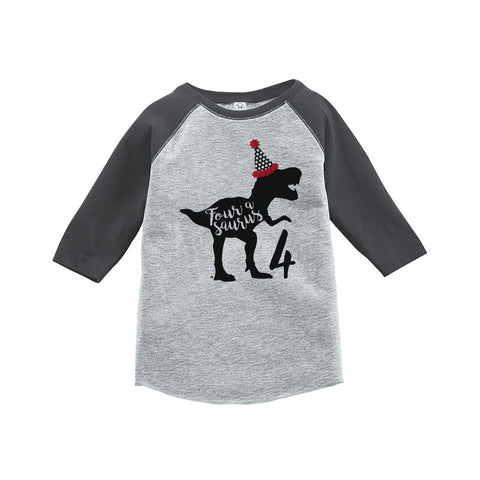 7 ate 9 Apparel Four Forth Birthday Dinosaur Grey Baseball Tee