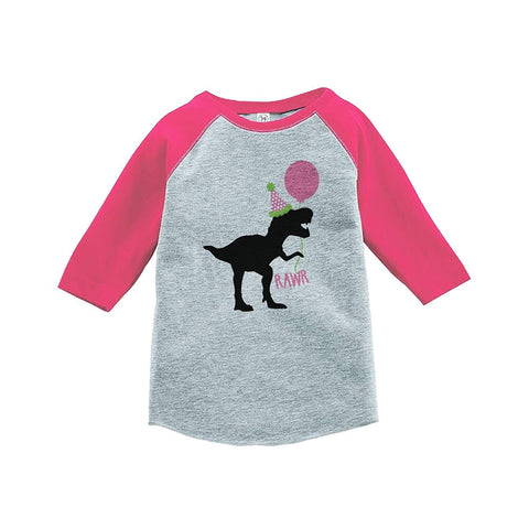 7 ate 9 Apparel Kids Dinosaur Birthday Pink Baseball Tee