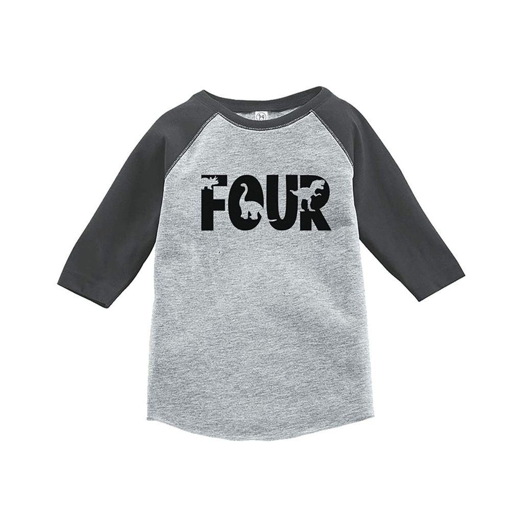 7 Ate 9 Apparel Four Forth Birthday Dinosaur Grey Baseball Tee Get The Party Started