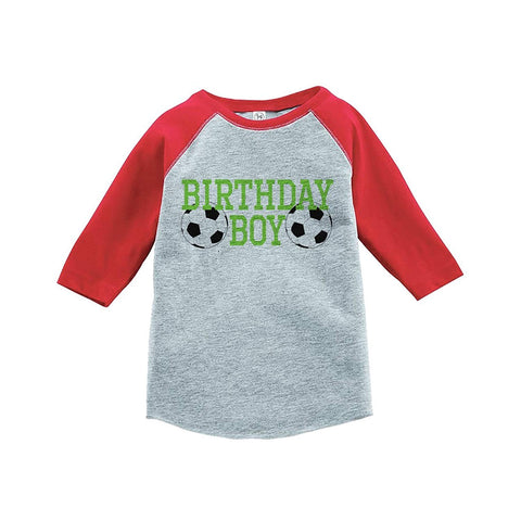 7 ate 9 Apparel Boy's Soccer Birthday Red Raglan Tee
