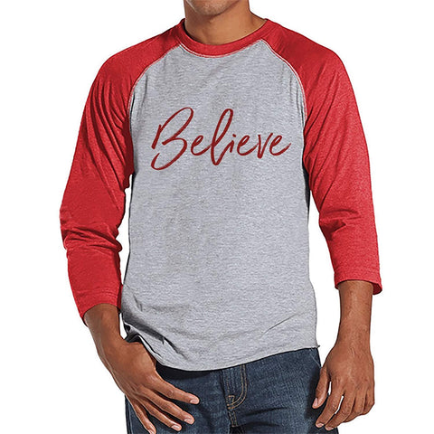 7 at 9 Apparel Men's Believe Christmas Raglan Tee