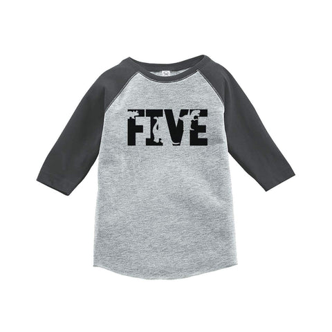 7 ate 9 Apparel Five Fifth Birthday Dinosaur Grey Baseball Tee