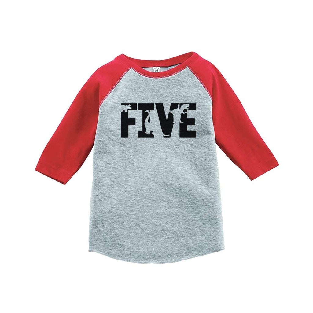 7 ate 9 Apparel Five Fifth Birthday Dinosaur Red Baseball Tee