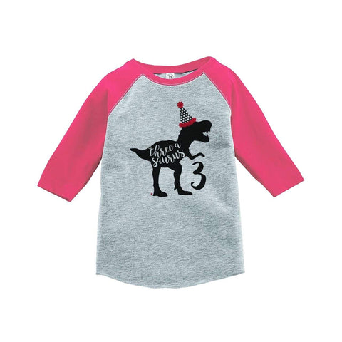 7 ate 9 Apparel Three Third Birthday Dinosaur Pink Baseball Tee
