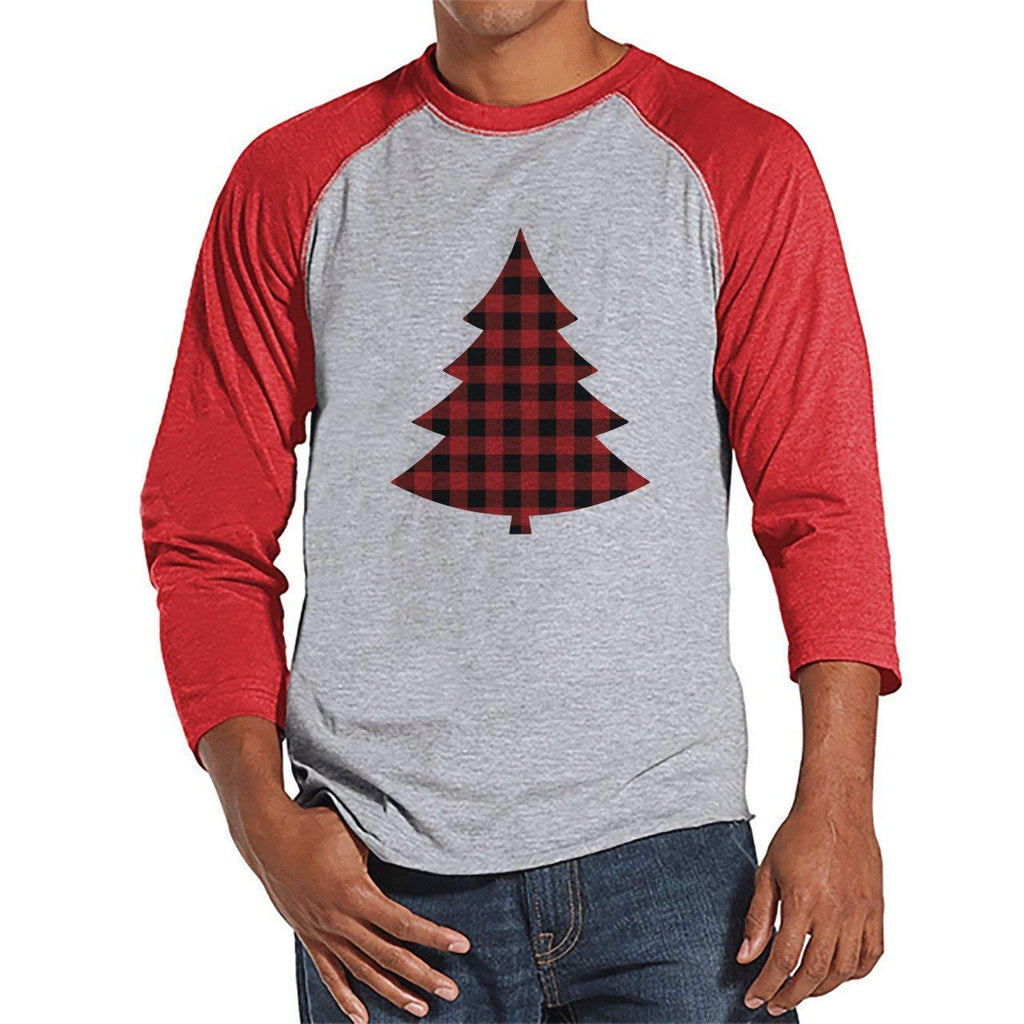 7 at 9 Apparel Men's Plaid Tree Christmas Raglan Tee