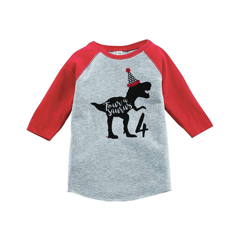 7 ate 9 Apparel Four Forth Birthday Dinosaur Red Baseball Tee