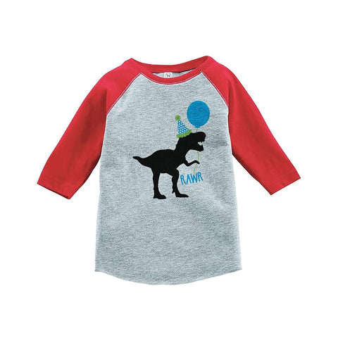 7 ate 9 Apparel Kids Dinosaur Birthday Red Baseball Tee