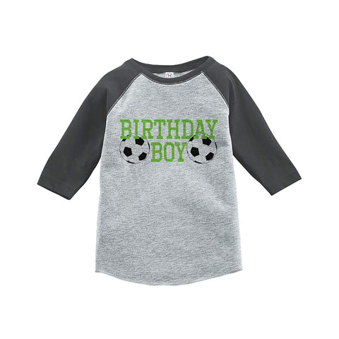 7 ate 9 Apparel Boy's Soccer Birthday Grey Raglan Tee