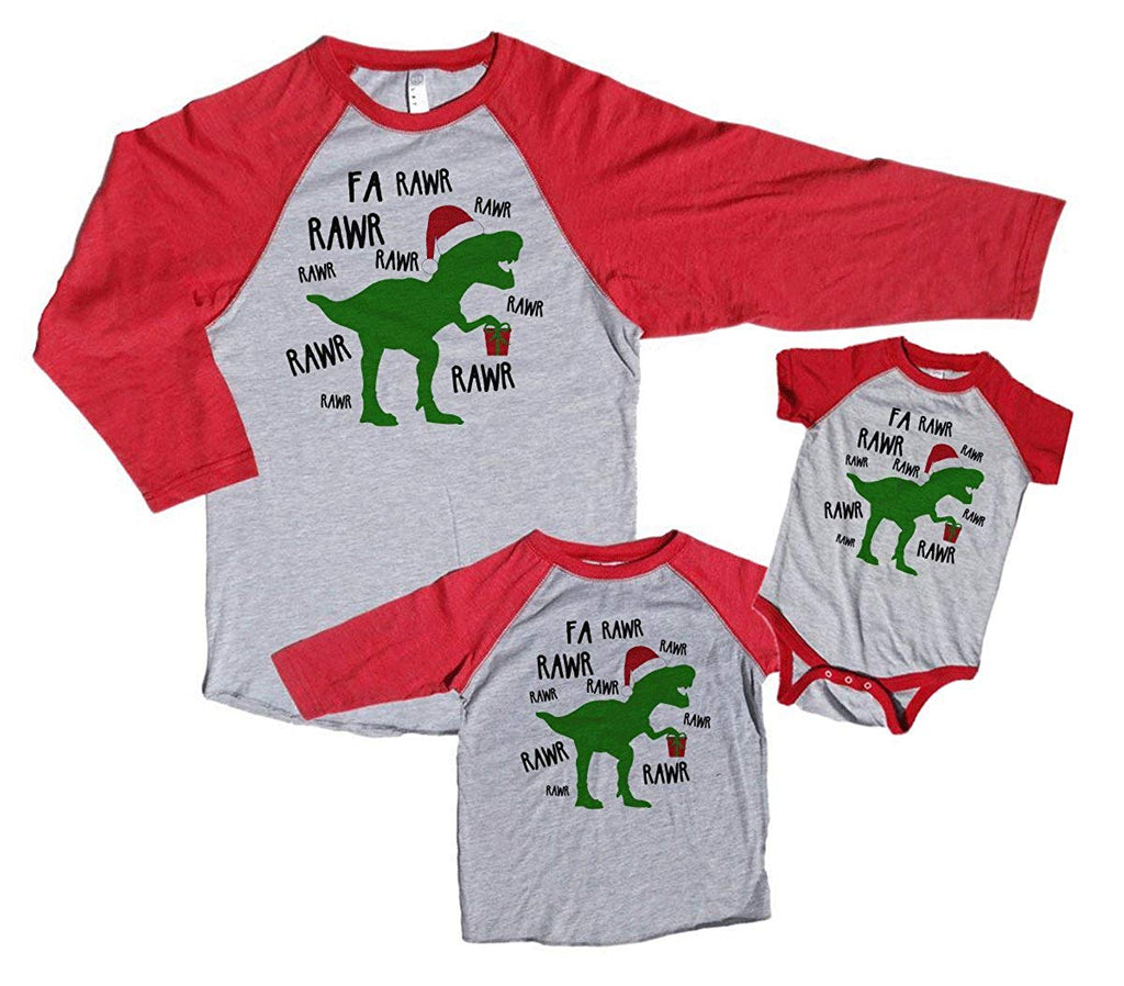7 ate 9 Apparel Family Matching Christmas Pajama Shirts - Dinosaur Red Baseball Tee Shirt