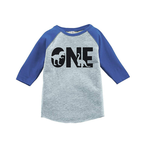 7 ate 9 Apparel Kid's One Dinosaur Birthday Blue Raglan Tee