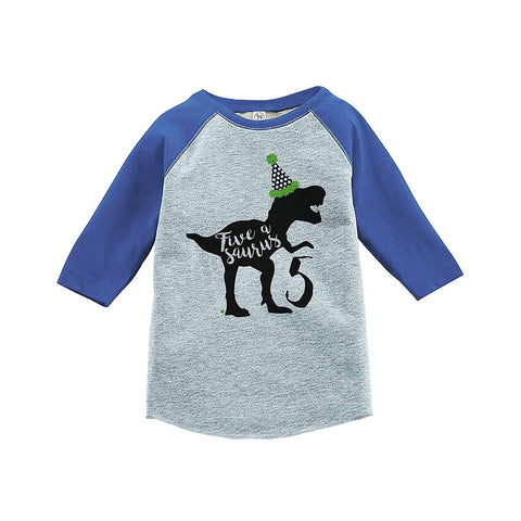 7 ate 9 Apparel Kid's Five Dinosaur Birthday Blue Raglan Tee