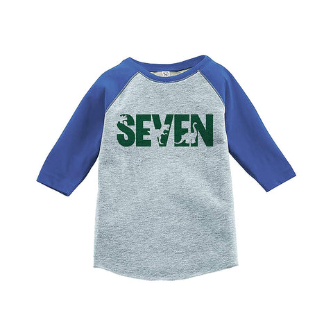7 ate 9 Apparel Kid's Seven Dinosaur Birthday Blue Raglan Tee