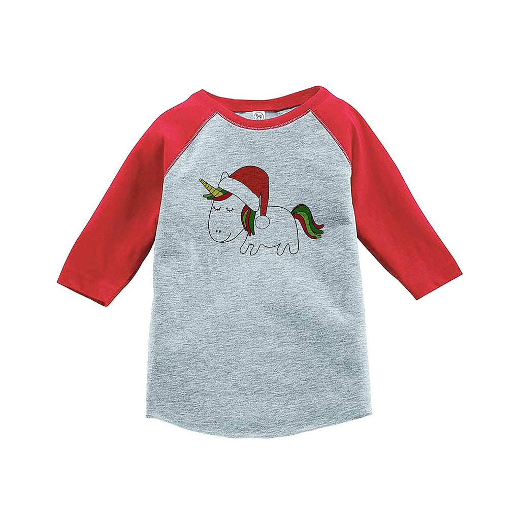 7 ate 9 Apparel Girl's Christmas Unicorn Red Baseball Tee