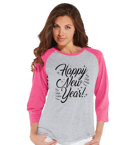 7 at 9 Apparel Women's Happy New Year's Baseball Tee