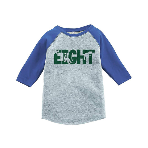 7 ate 9 Apparel Kid's Eight Dinosaur Birthday Blue Raglan Tee