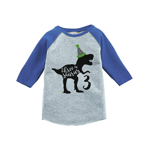 7 ate 9 Apparel Kid's Three Dinosaur Birthday Blue Raglan Tee