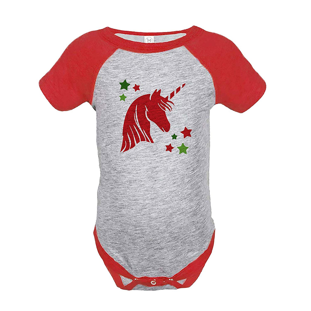 7 ate 9 Apparel Girl's Christmas Unicorn Red Onepiece