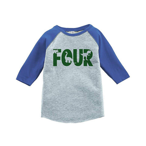 7 ate 9 Apparel Kid's Four Dinosaur Birthday Blue Raglan Tee
