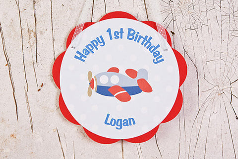 Airplane Door Sign Birthday Party - Red & Blue - Get The Party Started