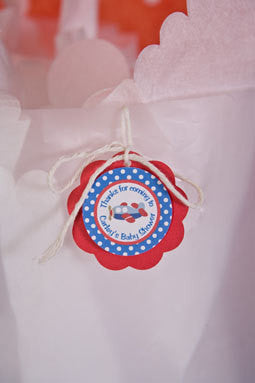 Airplane Favor Tags Baby Shower - Red & Blue - Get The Party Started
