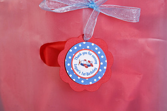 Airplane Favor Tags Birthday Party - Red Blue - Get The Party Started