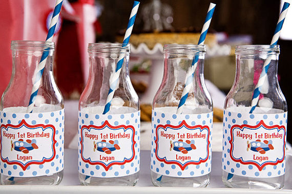 Airplane Water Bottle Labels Birthday Party - Red & Blue - Get The Party Started