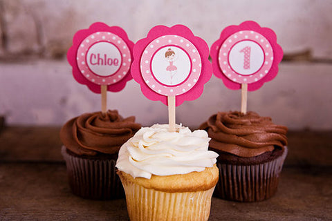 Ballerina Cupcake Toppers Birthday Party - Get The Party Started