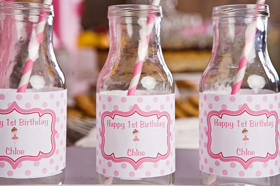 Ballerina Water Bottle Labels Birthday Party - Get The Party Started