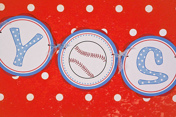 Baseball Baby Shower Banner- Red & Blue - Get The Party Started