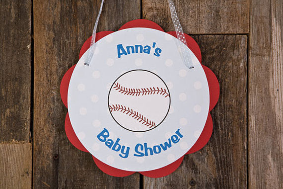 Baseball Door Sign Baby Shower- Red & Blue - Get The Party Started