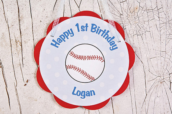 Baseball Door Sign Birthday Party - Red & Blue - Get The Party Started