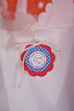 Baseball Favor Tags Baby Shower- Red & Blue - Get The Party Started