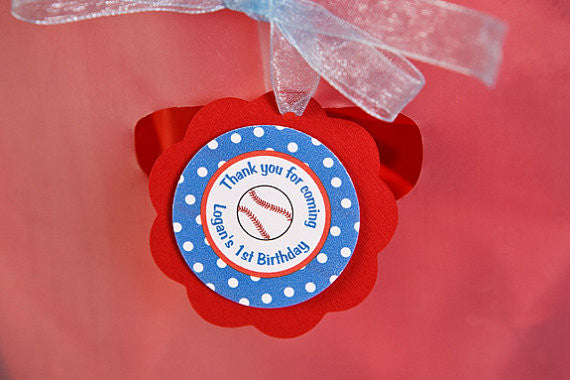 Baseball Favor Tags Birthday Party - Red & Blue - Get The Party Started