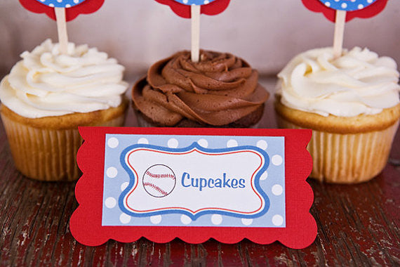 Baseball Food Tents Baby Shower- Red & Blue - Get The Party Started
