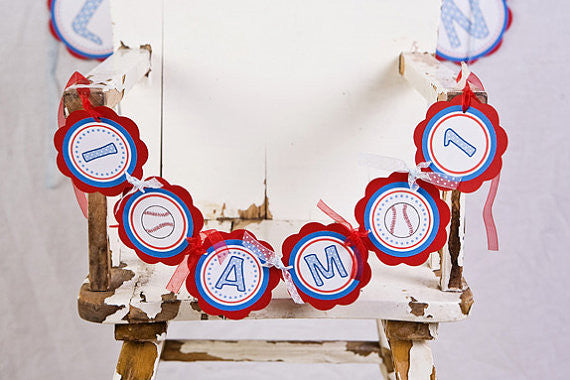 Baseball I am 1 Mini Birthday Banner - Red & Blue - Get The Party Started