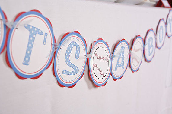 Baseball It's A Boy Banner Baby Shower Large- Red & Blue - Get The Party Started