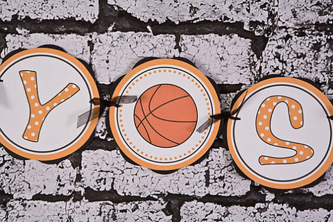 Basketball Baby Shower Banner Large- Black & Orange - Get The Party Started