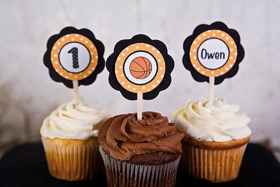 Basketball Cupcake Toppers Birthday Party - Black & Orange - Get The Party Started