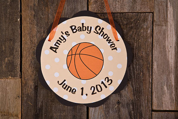Basketball Door Sign Baby Shower- Black & Orange - Get The Party Started